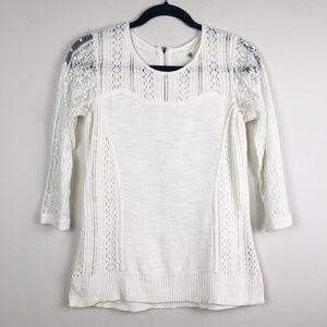 Knitted & Knottd White Lace Cutout Cotton Sweater